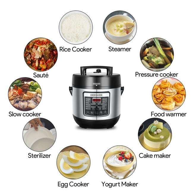 DEENKEE 10-in-1 Instant Programmable 6 Quart Multi Pot Pressure Cooker