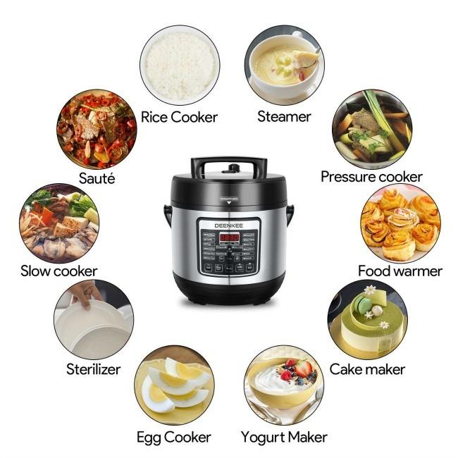 DEENKEE 10-in-1 Instant Programmable 6 Quart Multi Pot Pressure Cooker
