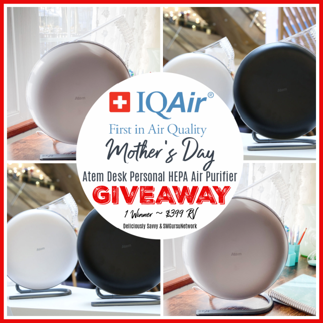 IQAir Atem Desk Personal HEPA Air Purifier Giveaway
